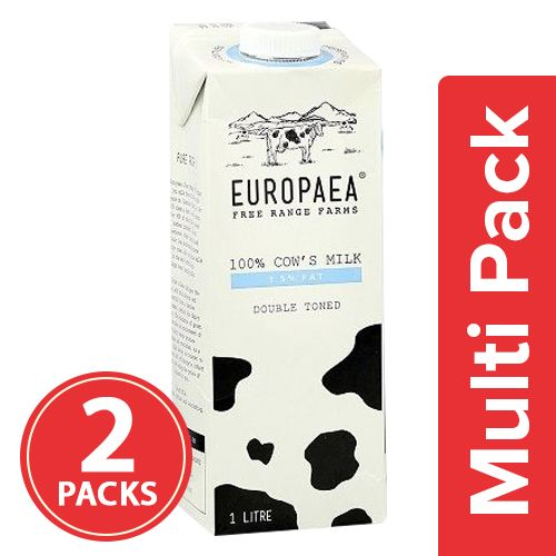 Europaea Cow Milk - Double Toned, 1.5% Fat, 2x1 lt Multipack