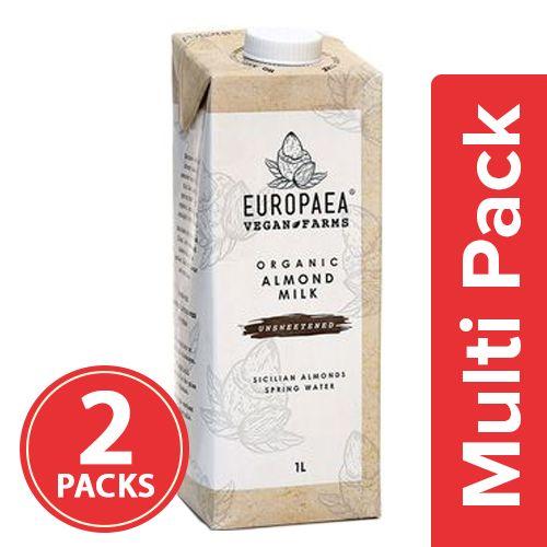 Europaea Vegan Farms Organic Almond Milk - Unsweetened, 2x1 lt Multipack