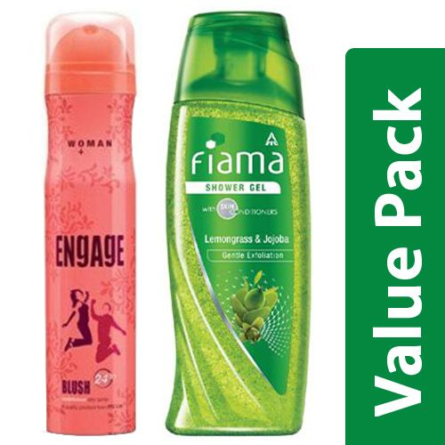 bb Combo Engage Deo Spray Blush For Women 150ml + FIAMA Shower Gel Clear Springs 250ml, Combo 2 Items