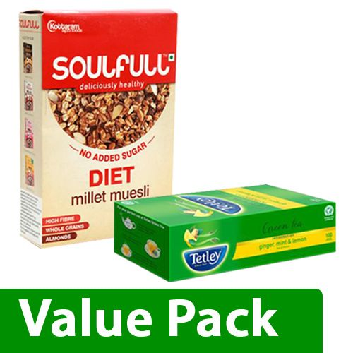 bb Combo Soulfull Millet Muesli Diet 400G + Tetley Green Tea Ginger Mint & Lemon 100pcs, Combo 2 Items