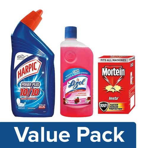 bb Combo Harpic Cleaner Power Plus 500ml +Lizol Cleaner Floral 500ml +Mortein Refill 1pc, Combo 3 Items