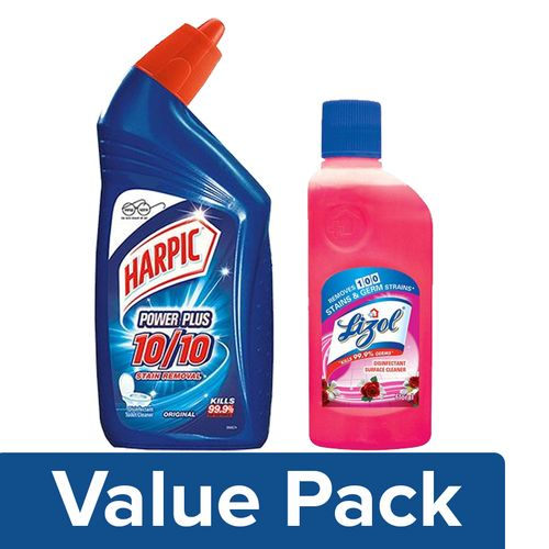 bb Combo Harpic Toilet Cleaner Original Power Plus + Lizol Surface Cleaner Floral (200ml), Combo 2 Items
