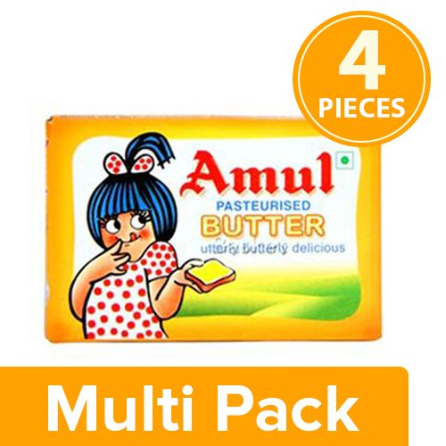 Amul Butter - Pasteurized, 4x100 gm Multipack