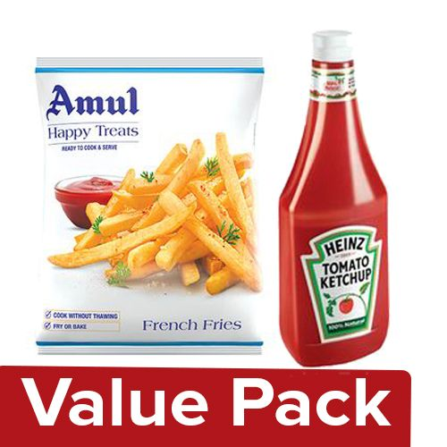 bb Combo Amul Happy Treats French Fries 1.25kg + Heinz Ketchup - Tomato 900gm, Combo 2 Items