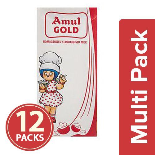 Amul Homogenised Standardised Milk, 12x1 lt Multipack