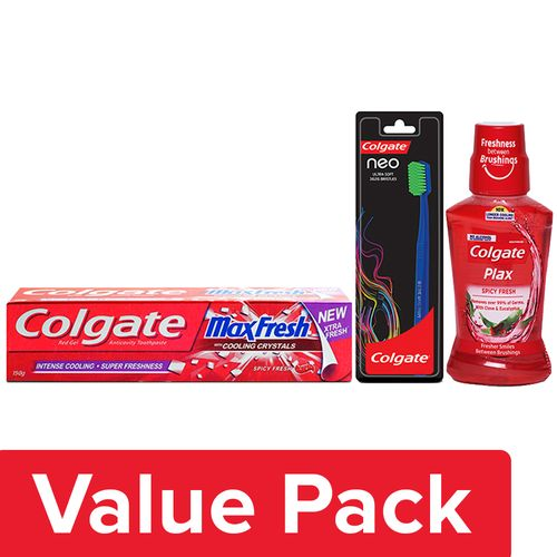 Colgate Toothpaste Maxfresh 150G + Neo Ultra Soft Toothbrush 1pc + Mouthwash Plax 250ml, Combo 3 Items