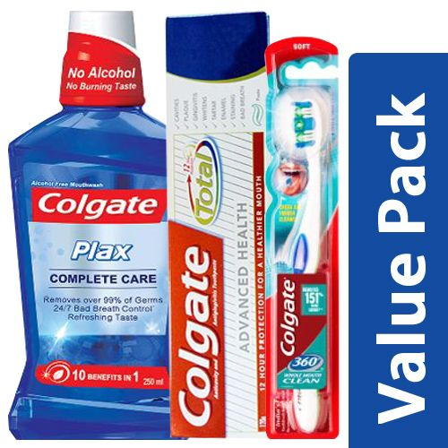 Colgate Toothpaste Total Advanced 120G + Toothbrush 360 1pc + Mouthwash Plax 250ml, Combo 3 Items