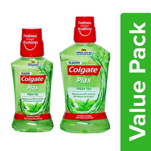 Colgate Mouthwash - Plax Fresh Tea, Alcohol Free, Imported 250 ml + 500 ml, Combo 2 Items