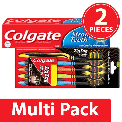 Colgate Toothpaste - Strong Teeth, Anti Cavity 300G + Toothbrush - ZigZag Black 5pcs, Combo 2 Items