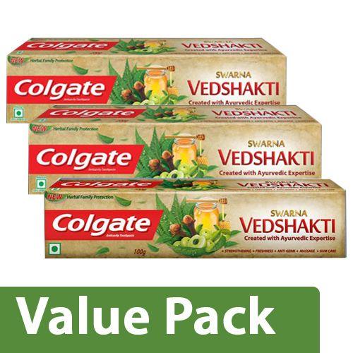 Colgate Toothpaste - Swarna Vedshakti Natural 200Gx2 + Swarna Vedshakti Natural 100G, Combo 2 Items