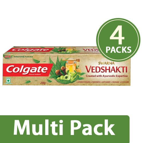 Colgate Toothpaste - Swarna Vedshakti Natural, 4x200 gm Multipack