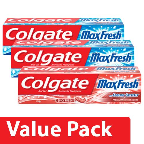 Colgate Toothpaste - Maxfresh Blue Peppermint Gel 150Gx2 + Maxfresh Spicy Red Gel 150G, Combo 2 Items