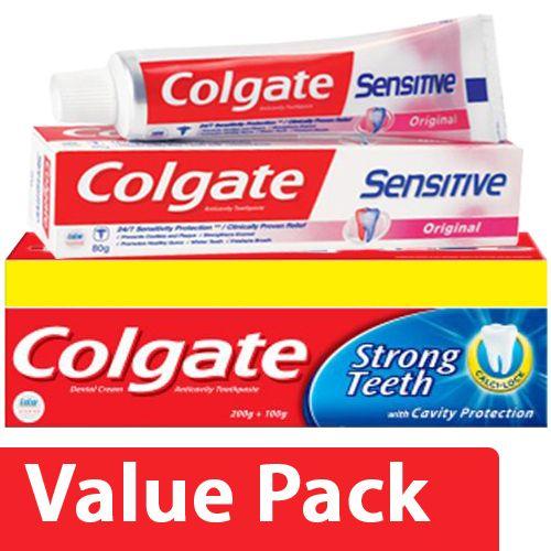 Colgate Toothpaste - Strong Teeth, Dental Cream, Anti Cavity 200 gm + Sensitive 80 gm, Combo 2 Items