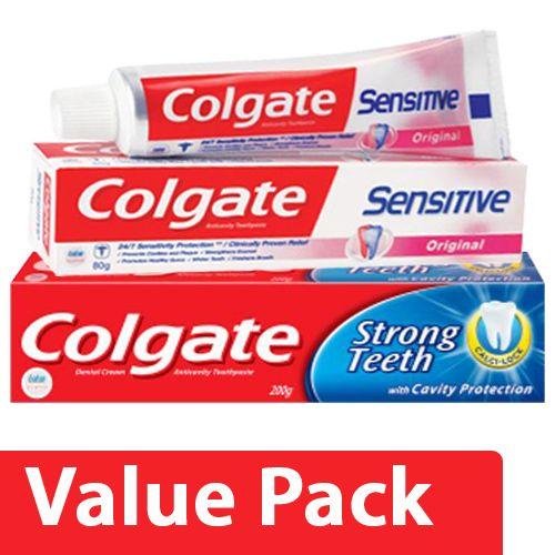 Colgate Toothpaste - Strong Teeth, Dental Cream, Anti Cavity 300 gm + Sensitive 80 gm, Combo 2 Items