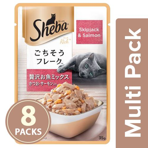 SHEBA Fish Mix cat Food - Skipjack & Salmon, for Adult Cats, 8x35 gm Multipack