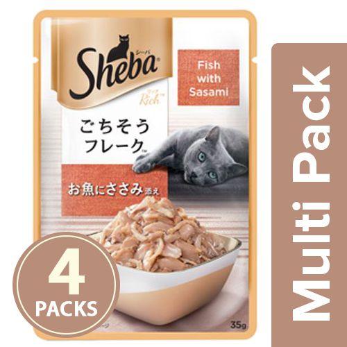 SHEBA Fish Mix cat Food - Fish with Sasami, for Adult Cats, 4x35 gm Multipack
