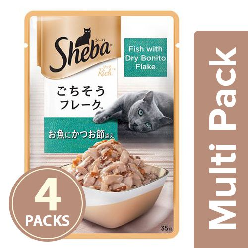 SHEBA Fish Mix cat Food - Fish with Dry Bonito Flake, for Adult Cats, 4x35 gm Multipack
