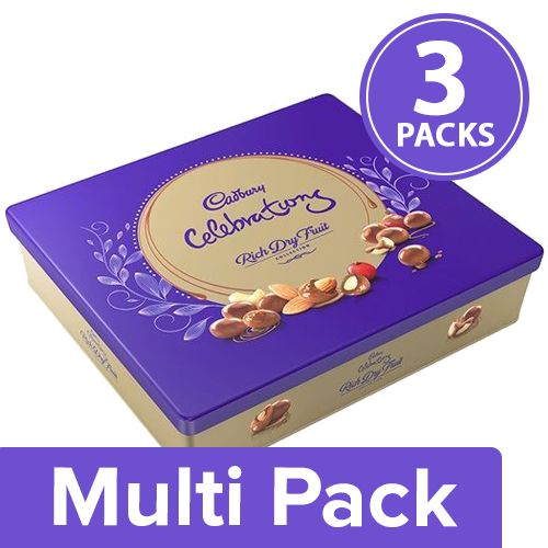 Cadbury Celebrations Chocolate - Rich Dry Fruit, Gift Box, 3x177 gm Multipack