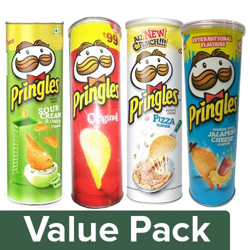 Pringles Potato Crisps- Original + Sour Cream & Onion + Pizza + Jalapeno  Cheese (110G), Combo 4 Items