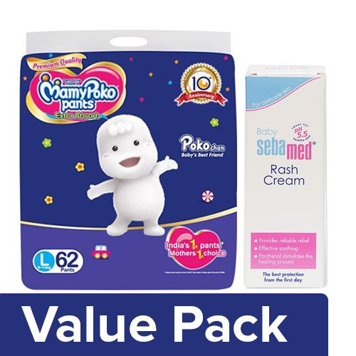 bb Combo MAMYPOKO Pants Style Diapers - Large 62pcs + Sebamed Rash Cream 100ml, Combo