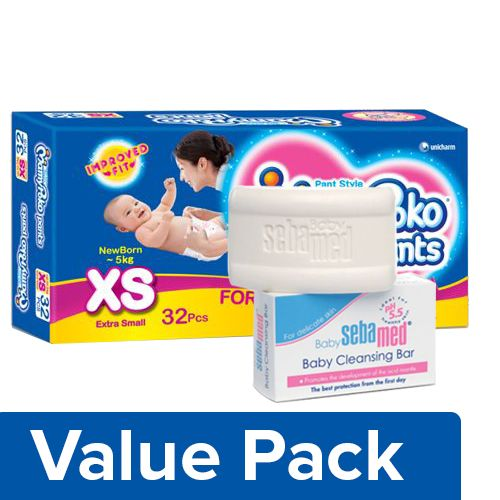 bb Combo MAMYPOKO Pants Style Diapers Xs Upto 5kg 32pc + Sebamed Baby Cleansing Bar 100G, Combo