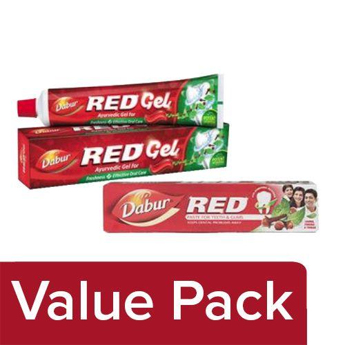 Dabur Red Ayurvedic Toothpaste 200gm + Red Toothpaste - Ayurvedic Gel 150gm, Combo 2 Items