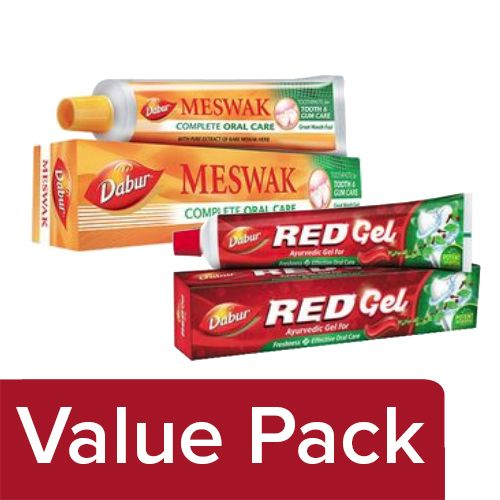 Dabur Meswak Toothpaste 200gm + Red Toothpaste - Ayurvedic Gel 150gm, Combo 2 Items