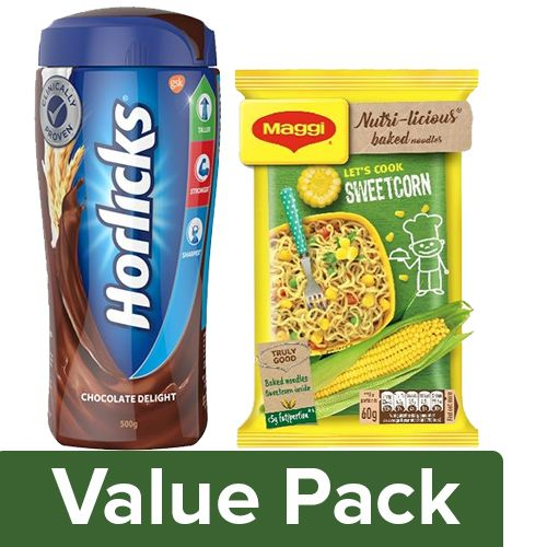bb Combo Maggi Nutri-Licious Baked Noodles Sweetcorn 60G + Horlicks Chocolate Drink 500G, 60 g