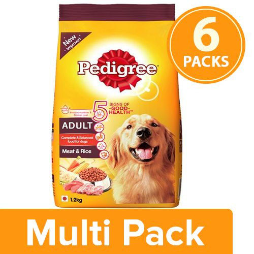Pedigree Dry Dog Food - Meat & Rice, for Adult Dogs, 6x1.2 kg Multipack