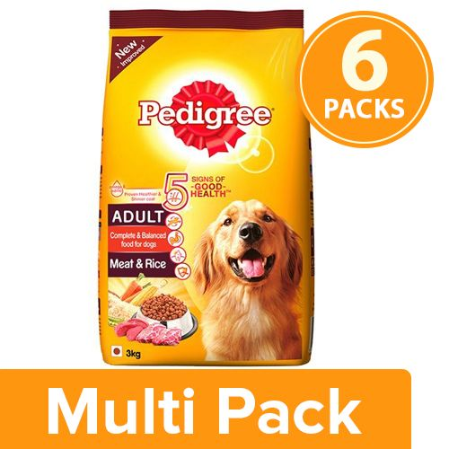 Pedigree Dry Dog Food - Meat & Rice, for Adult Dogs, 6x3 kg Multipack