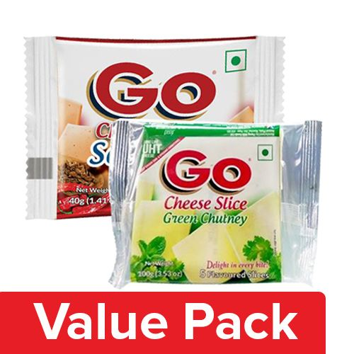 Go  Cheese Slice - Schezwan 200G + Cheese Slice - Green Chutney 200G, Combo 2 Items
