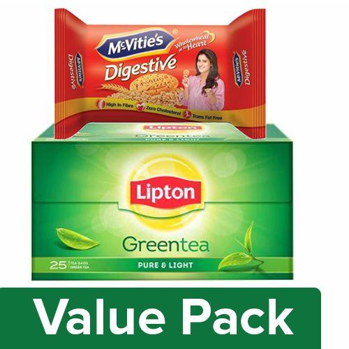 bb Combo Lipton Green Tea - Pure & Light 25pc + McVities Digestive Biscuits 100gm, Combo 2 Items