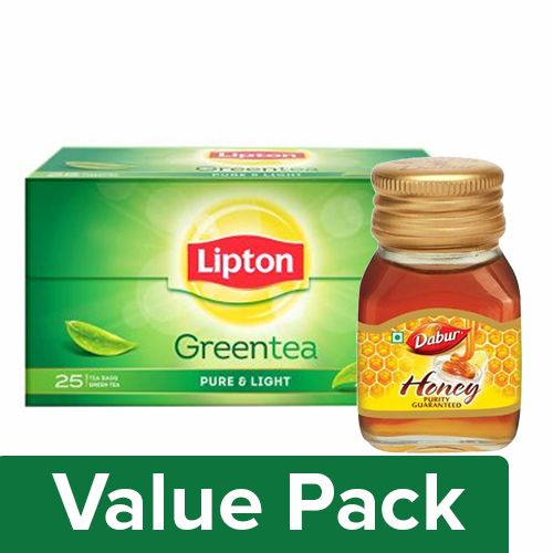 bb Combo Lipton Green Tea - Pure & Light 25pc + Dabur Honey 100gm, Combo 2 Items