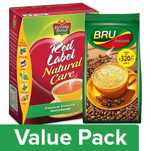 bb Combo Red Label Tea - Natural Care 500gm + Bru Instant Coffee 200gm, Combo 2 Items