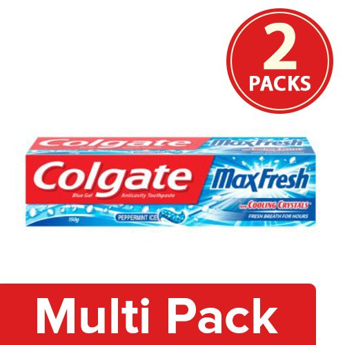 Colgate Toothpaste - Maxfresh Blue Peppermint Ice, Gel, 2x150 g Multipack