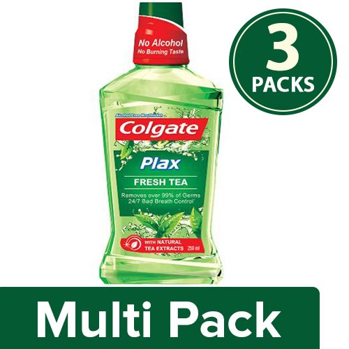 Colgate Mouthwash - Plax Fresh Tea, Alcohol Free, Imported, 3x250 ml Multipack