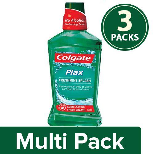 Colgate Mouthwash - Plax Fresh Mint, Alcohol Free, 3x250 ml Multipack