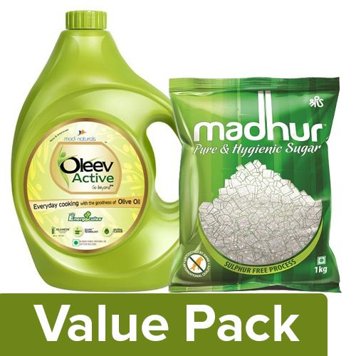 bb Combo Oleev Active - Goodness Of Olive Oil 5L + Madhur Sugar - Refined 1kg, Combo 2 Items