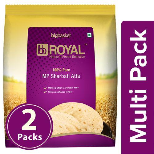 bb Royal 100% Pure MP Sharbati Atta, 2x1 kg Multipack