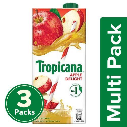 Tropicana Fruit Juice - Delight, Apple, 3x1 L Multipack