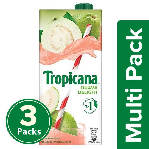 Tropicana Fruit Juice - Delight, Guava, 3x1 L Multipack