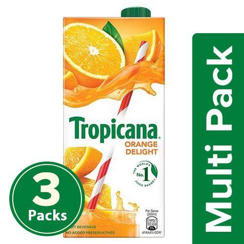 Tropicana Fruit Juice - Delight, Orange, 3x1 L Multipack
