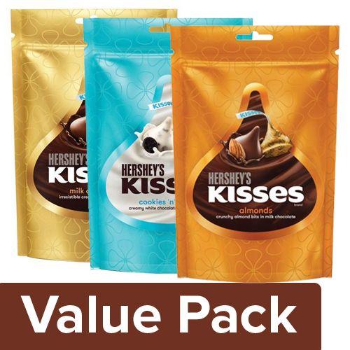 Hersheys  Kisses - Milk Chocolate + Cookies & Creme Chocolate + Almonds Chocolate (100G), Combo 3 Items