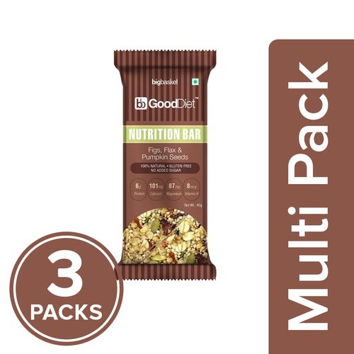 GoodDiet Nutrition Bar - Fig, Flax & Pumpkin Seeds, 3x40 g Multipack