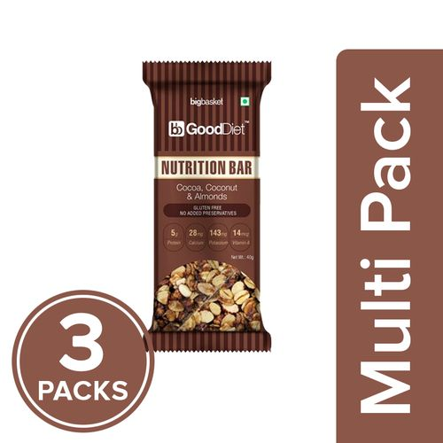 GoodDiet Nutrition Bar - Cocoa Coconut & Almonds, 3x40 g Multipack