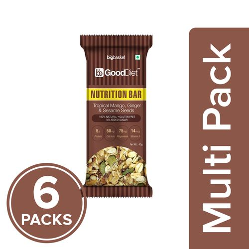 GoodDiet Nutrition Bar - Tropical Mango, Ginger & Sesame Seeds, 6x40 g Multipack