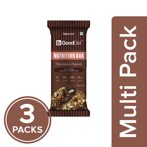 GoodDiet Nutrition Bar - Chocolate & Peanut, 3x40 g Multipack