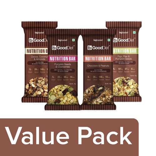GoodDiet Pre Workout Energy Pack- High Protein High in Omega3 Full of Minerals & Vitamins, Combo 4 Items