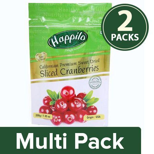 Happilo Cranberries - Sweet Dried Sliced, Californian Premium, 2x200 gm Multipack