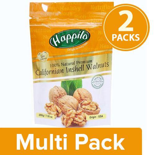 Happilo Walnuts - Inshell, 100% Natural Premium Californian, 2x200 g Multipack